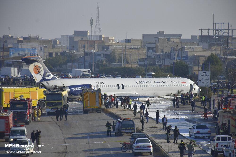 خروج هواپیمای مسافربری تهران _ ماهشهر از باند فرودگاه