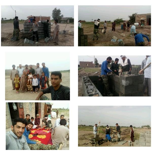 احداث۳۰چشمه سرویس بهداشتی توسط بسیجیان شهرستان راور در روستای سیل زده زهکلوت